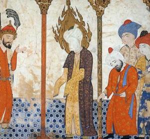 Arc nélküli Mohamed próféta egy mecsetben