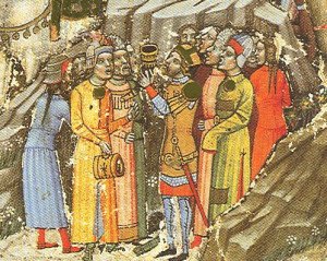 Árpád fejedelem kezében az ivókürttel