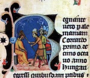 Lehel vezér homlokon vágja Konrád császárt. Iniciálé a Képes Krónikából