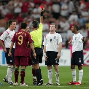 DECADE REVIEW - Sport. Soccer - FIFA World Cup Quarter Final - England v Portugal - Gelsenkirchen. England's Wayne Rooney is sent off after stamping on Portugal's Alberto Ricardo Carvalho during the Quarter Final match at the FIFA World Cup Stadium in Gelsenkirchen, Germany. PRESS ASSOCIATION Photo. Picture date: 1 July, 2006. Photo credit should read: Martin Rickett/PA Wire